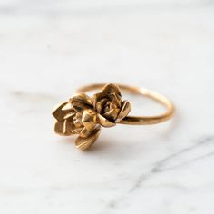 Succulent Stacking Ring No. 2- Miniature Plant- Inspired Jewelry in Precious and Semi-Precious Metals