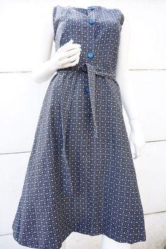 Robe Dress Trapeze Sans manche Vintage vtg 70 T 38 hIPPY bOHEME fleurs