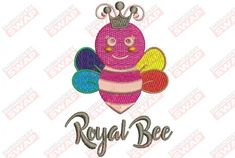 Royal Bee Machine Embroidery Design File Bee Embroidery, Embroidery Files, Machine Embroidery Designs, Animal Categories, Design Files