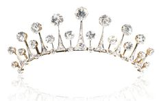 Diamond tiara / necklace, late 19th century. Designed as a graduating row of lanceolated motifs, set with cushion-shaped, circular-cut and rose diamonds; may be worn as a tiara with the provided fitting.