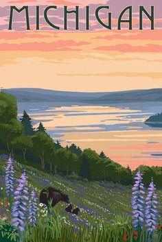 Minnesota - Lake & Bear Family - Lantern Press Artwork (Art Print Available) Traverse City Michigan, Lake Michigan, Michigan Travel, Northern Michigan, Washington Lakes, Washington State, North Carolina Lakes, South Carolina, Lakes In California