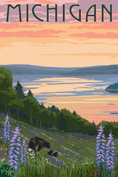 Michigan - Lake & Bear Family - Lantern Press Artwork