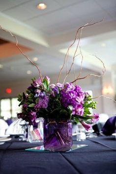 Purple Centerpiece CHEAP IDEA TO USE TWIGS!! COOL! AND THE HYDRANGEAS