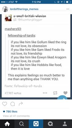 Do you like him like the hobbits like good? Then it's love.