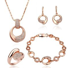 CuteEdsion 4Pcs 18K Rose Gold Plated Austrian Crystal Bubble Pendant Bone Necklace Chain Bracelet Q Rings Earrings Jewelry Set -- More details can be found by clicking on the image. #JewellerySets