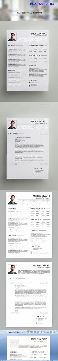 Professional Resume Template PSD. Download here: http://graphicriver.net/item/professional-resume-template-8-/14595915?ref=ksioks