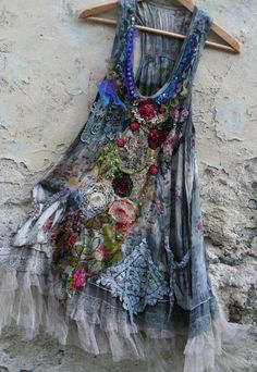 Fairy woods  shabby romantic tunic warable art antique and