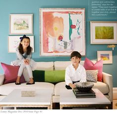 i love the color and the art in this image...and the two coffee tables
