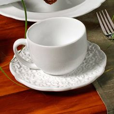 Conjunto 6 Xícaras de Chá com Pires Marrakech Branco - em Cerâmica - Porto Brasil