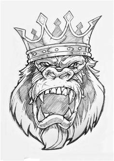 Possible cover piece Tattoo Design Drawings, Cool Art Drawings, Tattoo Sketches, Art Sketches, Gorilla Tattoo, King Tattoos, Body Art Tattoos, Crown Tattoos, Monkey Art