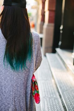 Hair inspiration: diped dyed, turquoise tips.