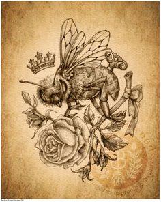 Victorian Steampunk Honey Bee & Rose - Art Print - Brigid Ashwood via Etsy. Would be a great tat! Punk Tattoo, Steampunk Bird, Victorian Steampunk, Beautiful Tattoos, Cool Tattoos, Tatoos, Sweet Tattoos, Steam Punk, Queen Bee Tattoo