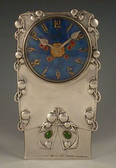 Liberty & Co. Pewter & Enamel Clock 0608 - Archibald Knox - Arts & Crafts