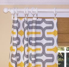 YELLOW CURTAINS, Premier Fabric, Corn Yellow, Pair Drapery Panels, 50 Wide, 3 Rod Pocket, Custom Curtains, Embrace, Grey and Corn  Choose