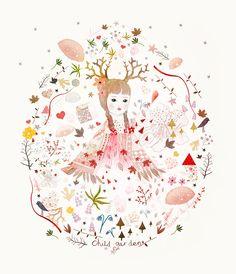 child garden, illustration, ,mixed media.