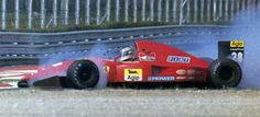 Ivan Capelli getting it wrong at Parabolica (not an often sight) in his Ferrari F92A at Monza, 1992 Italian Grand Prix