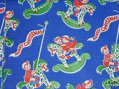 3 VINTAGE 50's CHRISTMAS WRAPPING PAPER/ROCKING HORSES! (08/12/2008)