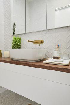 The Block 2019 Oslo: Main bathroom reveals Bathroom Renos, Bathroom Renovations, Bathroom Layout, Bathroom Ideas, Bathroom Design Inspiration, Bathroom Interior Design, The Block Bathroom, Feature Tiles, House And Home Magazine
