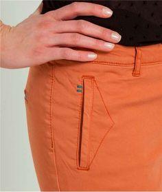 Pantalon femme chino couleur unie CARAMEL