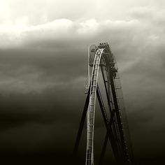 roller coaster... This is my life.. When Im on a high, in the clouds, everything is perfect... but when I hit my lows it is fast and rough... lol BUT my I will get back to a peak.