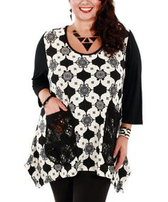 Another great find on #zulily! Black & White Geometric Scoop Neck Tunic - Plus by Lily #zulilyfinds