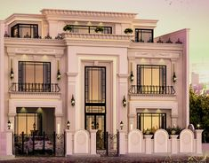 Luxury Villa Exterior Design on Behance Classic House Exterior, Modern Exterior House Designs, Modern Villa Design, Classic House Design, Bungalow House Design, Dream House Exterior, Modern Architecture House, Exterior Design, Facade Design