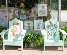 Nora Butler's store in Naples, Florida, featuring her whimsical designs: http://www.completely-coastal.com/2009/07/adirondack-chair-from-mountains-to.html