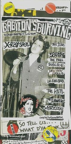 The aesthetics of countercultural magazines and posters was influenced by the visual anarchy of punk zines like this one.  https://www.facebook.com/polystyrenetribute