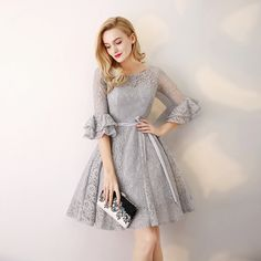 Gray 3/4 Long Sleeve Lace Short Bridesmaid Dress - Uniqistic.com