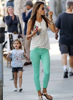 Alessandra Ambrosio wearingRolex Oyster Perpetual Day-Date watch Level 99 Janice Ankle Ultra Skinny jeans in Argon Green  Getting Ice Cream in Los Angeles October 2012 #celebrityfashion