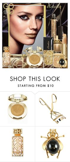"""""""Shine On: Metallic Makeup"""" by evachasioti ❤ liked on Polyvore featuring beauty, Milani, Tory Burch, polyvorecontest and metallicmakeup"""
