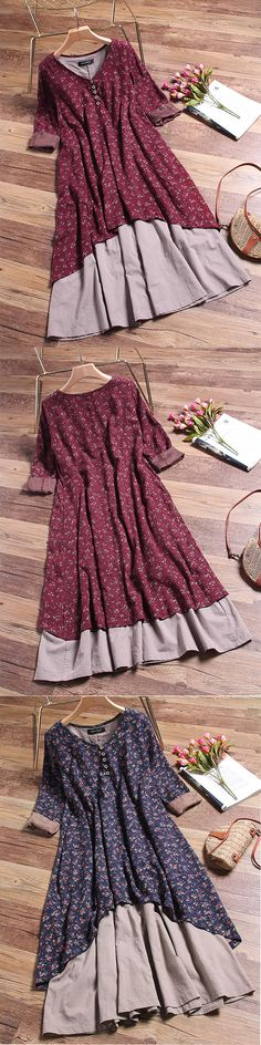 UP TO 48% OFF! Floral Printed Two Layers Long Sleeve Vintage Dresses