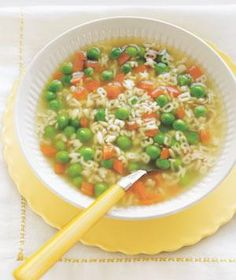 Peas and Carrots Alphabet Soup 6 cups low-sodium chicken broth 2 carrots, diced 1 cup alphabet pasta kosher salt 1 10-ounce package frozen peas (2 cups) Directions Place the broth in a large saucepan and bring to a boil. Add the carrots, pasta, and ¼ teaspoon salt. Simmer until the carrots and pasta are tender, 6 to 8 minutes. Stir in the peas and cook until heated through, 1 to 2 minutes.