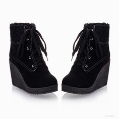 Women's Fashion Ankle Med Wedge Heel Boots Lace Up Platform Shoes Y453 Retail-in Boots from Shoes on Aliexpress.com