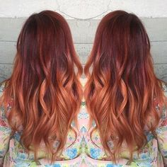Wavy Red Copper Ombre with long hair