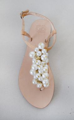 Wedding shoes  Handmade Sandals decorated with pearl by MyMarmade