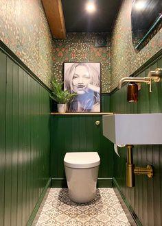 Small Toilet Decor, Toilet Room Decor, Small Toilet Room, Cloakroom Toilet Downstairs Loo, Small Wc Ideas Downstairs Loo, Cloakroom Wallpaper, Wallpaper Toilet, Understairs Toilet, Tongue And Groove Panelling