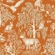 Sherwood Scenic on Burnt Orange by Makower UK forest animal cotton novelty fabric Contemporary Fabric, Modern Fabric, Woodland Baby Bedding, Baby Quilt Patterns, Andover Fabrics, Baby Bedding Sets, Mini Crib, Novelty Fabric, Crib Sheets