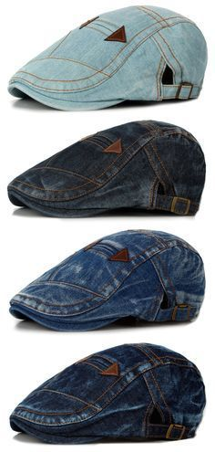 d7566757037 Fashion Summer Mens Washed Vintage Denim Beret Caps Casual Flat Sun Cap for  Cowboy