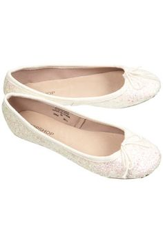 Vibrant Glitter Ballet Pumps in White from Topshop