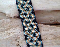 Cuff Miyuki Beads Bracelet gold, black and blue metallic