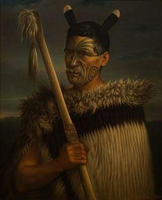 A portrait of the Maori Rewi Manga Maniapoto, by Gottfried Lindauer. Maori Face Tattoo, Ta Moko Tattoo, Maori Tattoos, Polynesian People, Polynesian Art, New Zealand Tattoo, New Zealand Art, Auckland Art Gallery, Maori People
