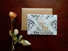 Vintage chic envelope for a custom wedding invitation by Much Love Designs
