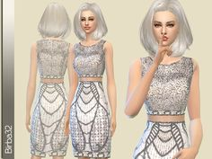 The Sims Resource: Shining silver dress by Birba32 • Sims 4 Downloads