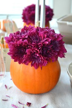 Pumpkin Flower Bouquets {A Pretty Life} Thanksgiving Table Settings, Thanksgiving Decorations, Seasonal Decor, Diy Thanksgiving, Pumpkin Flower, Diy Pumpkin, Pumpkin Floral Arrangements, Flower Arrangements, Holiday Fun