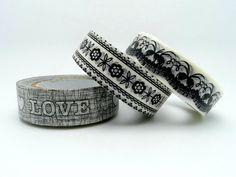 Bianco e nero Washi Tape Set di 3 rotoli 10m pizzo di Yeestore