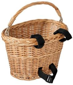 Classic, simple bike basket Enables you to tote your books home from the library, groceries home from the market, and more Made of natural wicker Includes a fold-down handle Easily attaches in just mo