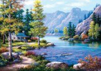 Art Puzzle 4718 Hidden hut by the lake- Art Puzzle 4718 Versteckte Hütte am See Hidden hut by the lake - House Painting Pictures, Pictures To Paint, Wall Pictures, Cross Stitch Kits, Cross Stitch Designs, Diy Outdoor Weddings, Lake Art, Paint By Number Kits, Paper Flowers Diy