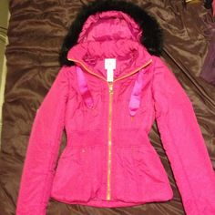 Candies pink coat jacket black fur size small New without tags. Accepting offers Candie's Jackets & Coats