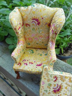 Vintage oriental brocade wing chair by PurpleBEmporium on Etsy, via Etsy. Absolutely love the fabric.